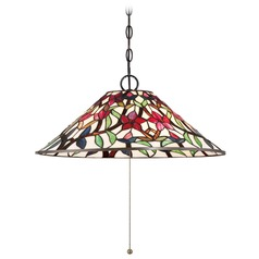 Quoizel Lighting Red Blossom Vintage Bronze Pendant Light with Conical Shade
