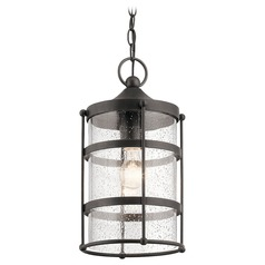 Seeded Glass Outdoor Hanging Light Iron Mill Lane by Kichler Lighting
