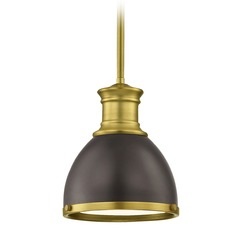 Industrial Bronze Small Pendant Light with Brass Accents 7.38-Inch Wide