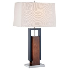 Minka Walnut, Black, Brushed Nickel Table Lamp with Rectangle Shade