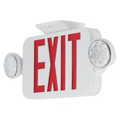 LED Exit Sign with Red Lettering and Two Lights by Progress Lighting