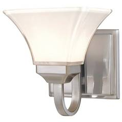 Modern Sconce with White Glass in Brushed Nickel Finish