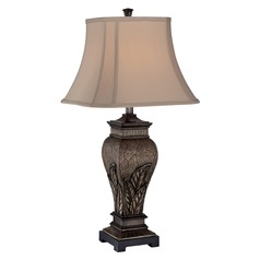 Table Lamp with Grey Shade in Aged Silver Finish
