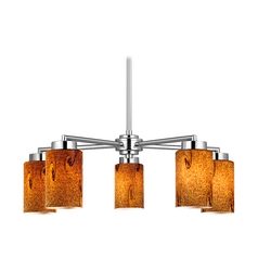 Modern Chandelier with Five Lights and Brown Art Glass