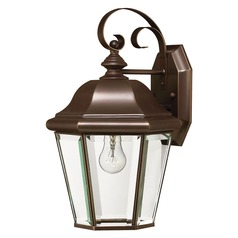 Outdoor Wall Light with Clear Glass in Copper Bronze Finish
