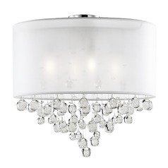 Kuzco Lighting Modern Chrome Semi-Flushmount Light with Textured White Shade