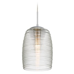 Quoizel Lighting Piccolo Pendant Polished Chrome Mini-Pendant Light with Cylindrical Shade