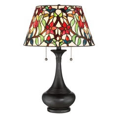 Quoizel Lighting Red Blossom Vintage Bronze Table Lamp with Empire Shade