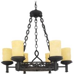 Chandelier with Amber Glass in Imperial Bronze Finish