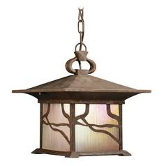Kichler Lighting Outdoor Hanging Light with Brown Glass in Distressed Copper Finish 9837DCO
