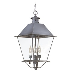 Troy Lighting Outdoor Hanging Light with Clear Glass in Natural Aged Brass Finish F9139NAB