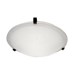 Modern Flushmount Light with White Glass in Natural Iron Finish