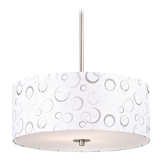 Nickel Drum Pendant Light with White Patterned Shade