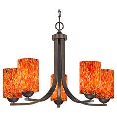 Modern Chandelier with Art Glass in Neuvelle Bronze Finish