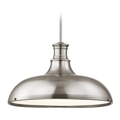 Farmhouse Pendant Light Satin Nickel 18.38-Inch Wide
