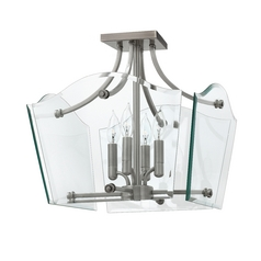Modern Semi-Flushmount Light with Clear Glass in Polished Antique Nickel Finish