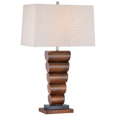 Minka Walnut Table Lamp with Rectangle Shade