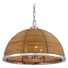 Corbett Lighting Carayes Stainless Steel Pendant Light with Bowl / Dome Shade