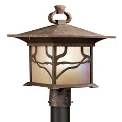 Kichler Distressed Copper Post Light with Etched Iridized Seedy Glass