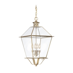 Outdoor Hanging Light with Clear Glass in Natural Aged Brass Finish