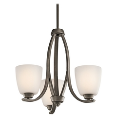 Kichler Mini-Chandelier with White Glass in Olde Bronze Finish