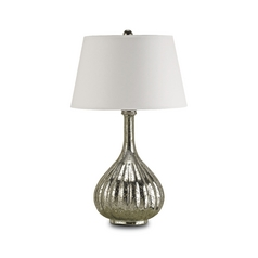 Table Lamp with White Paper Shade in Antique Mercury Finish