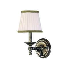 Sconce Wall Light with White Shade in Historic Nickel Finish