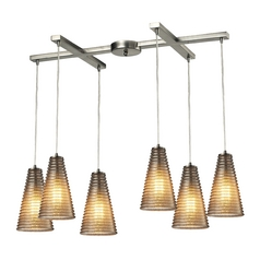 Modern Multi-Light Pendant Light with Grey Glass and 6-Lights