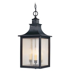 Pale Cream Seeded Glass Outdoor Hanging Light Black Savoy House