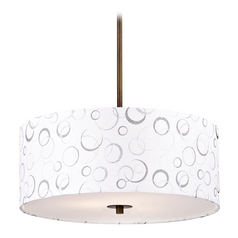 Bronze Drum Pendant Light with White Patterned Shade