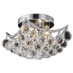 Contemporary Crystal Semi-Flushmount Ceiling Light - 10-Inches Wide