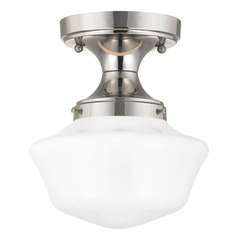 8-Inch Wide Polished Nickel Schoolhouse Ceiling Light