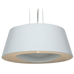 Access Lighting Soho Glossy White Pendant Light with Drum Shade