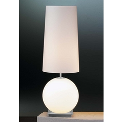 Holtkoetter Modern Table Lamp with White Shades in Satin Nickel Finish