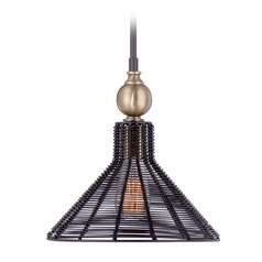 Quoizel Lighting Long Beach Western Bronze Mini-Pendant Light with Coolie Shade