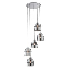 Lite Source Sparta Chrome Multi-Light Pendant with Drum Shade