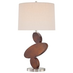 Minka Lavery Walnut and Brushed Nickel Table Lamp with Drum Shade