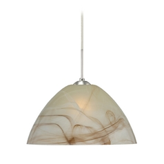 Modern Pendant Light with Brown Glass in Satin Nickel Finish