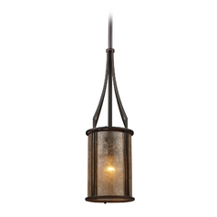 Mini-Pendant Light with Brown Mica Shade