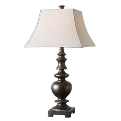 Table Lamp with Beige / Cream Shade in Dark Bronze Finish