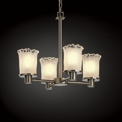 Justice Design Veneto Luce 4-Light Mini Chandelier in Brushed Nickel