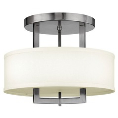 Modern Drum Pendant Light with White Shade in Polished Chrome Finish
