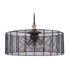 Quoizel Long Beach Western Bronze Pendant Light with Drum Shade