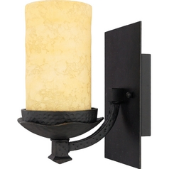 Sconce Wall Light with Amber Glass in Imperial Bronze Finish