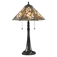Quoizel Lighting Jade Portable Vintage Bronze Table Lamp with Conical Shade