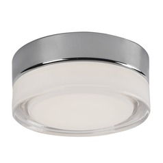Modern Chrome LED Flushmount Light with Frosted Shade 3000K 460LM