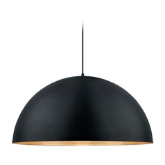 Eglo Gaetano Black / Gold LED Pendant Light with Bowl / Dome Shade