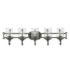 Traditional Seeded Glass Black Bath Light 5-Lt by Hinkley Lighting