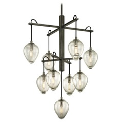Troy Lighting Brixton Gun Metal with Smoked Chrome Pendant Light with Bowl / Dome Shade