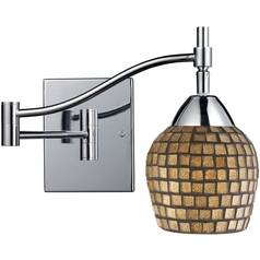 Swing Arm Lamp with Art Glass in Polished Chrome Finish